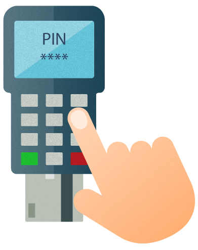 Illustration of a hand typing a pin number on a POS device